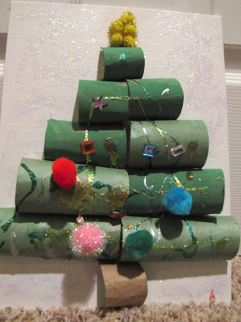 recycled paper tube christmas tree craft