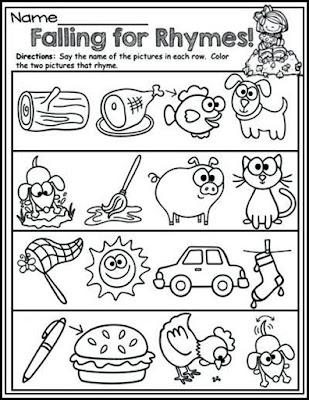 Rhyming Words Color Sheets Preschool Items Best Kindergarten Images On Activities Worksheets