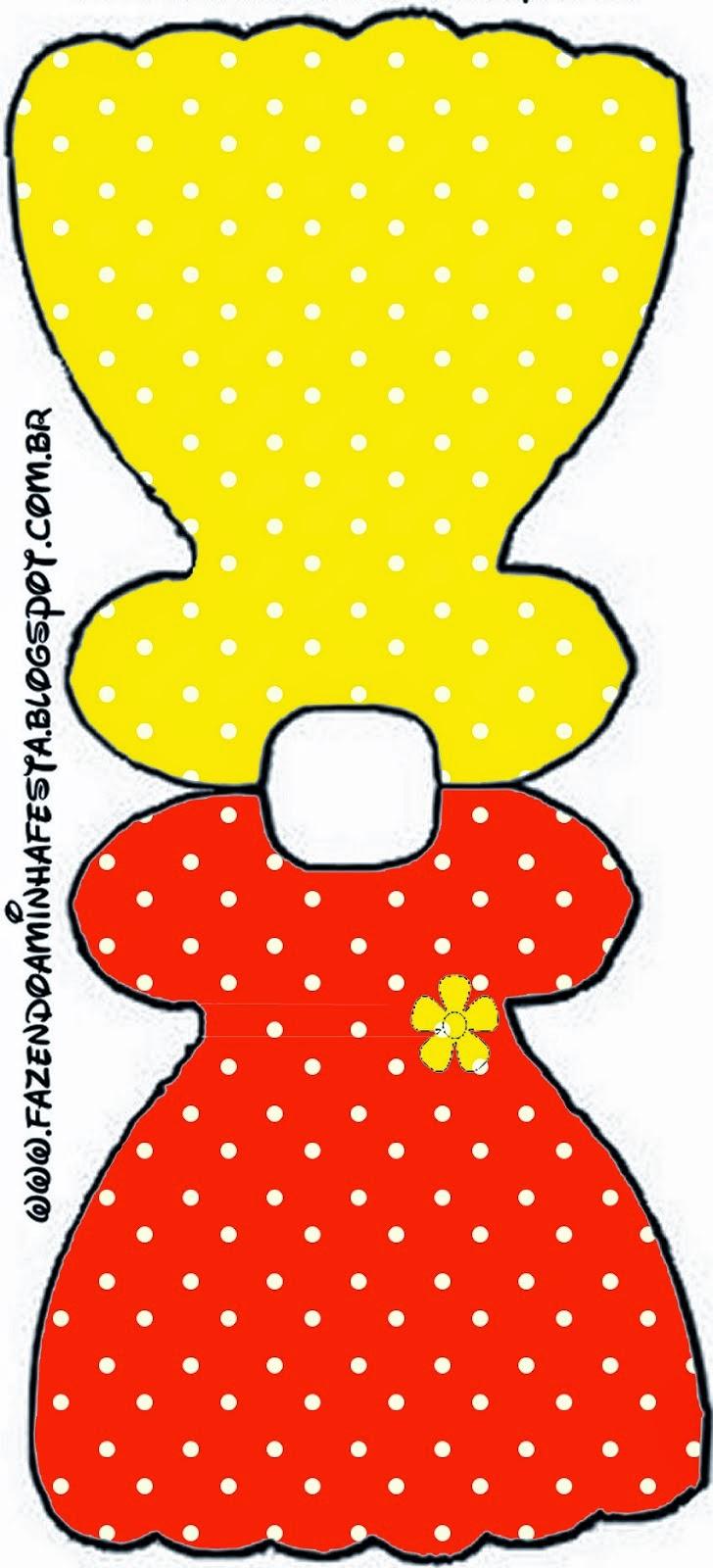 Tarjeta con forma de Vestido de Rojo, Amarillo y Lunares Blancos.
