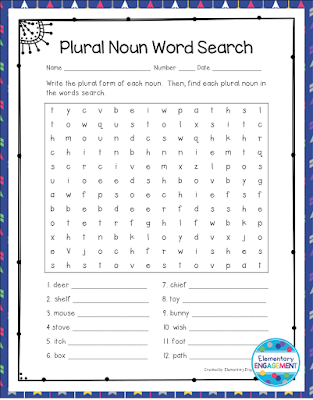 There are lots of great plural noun resources on this post.  This fun plural noun word find is free!