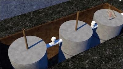 instalação da fossa septica e sumidouro