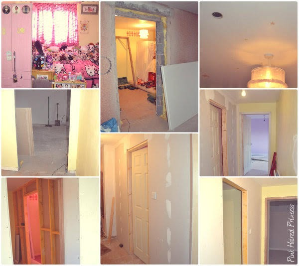 collage of photos of bedroom to shoe room makeover in various stages