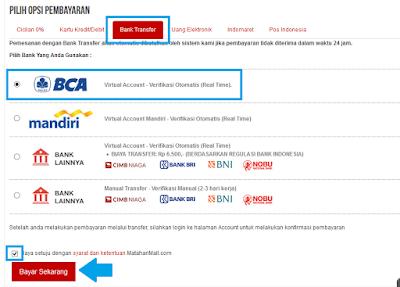 Cara Membeli Barang dan Belanja Online di Mataharimall.com, Halaman opsi pembayaran