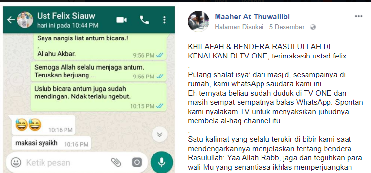 ILC Reuni Aksi 212, Mengharukan! Doa Tulus dari ustad Maaher At Thuwailibi Untuk Ustad Felix Siauw
