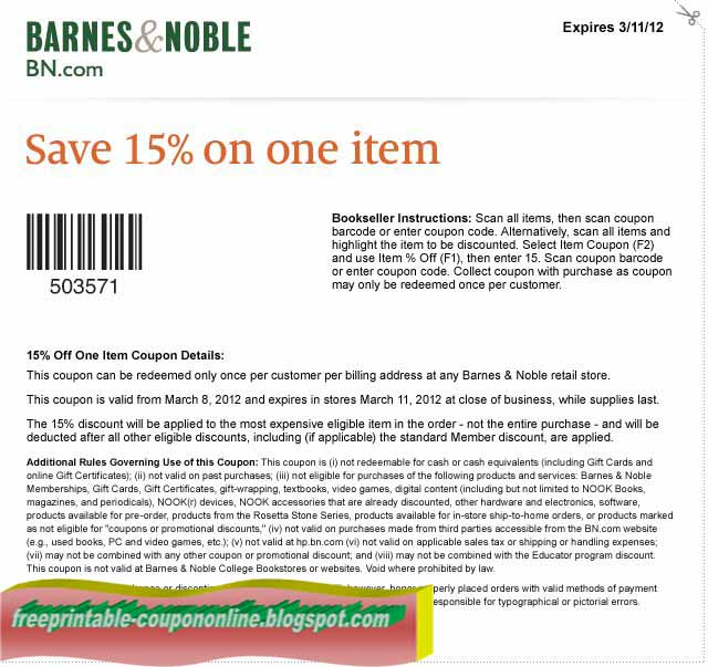 Barnes and noble online coupon codes december 2018