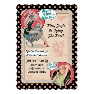 rockabilly bridal shower invitation pinup girl