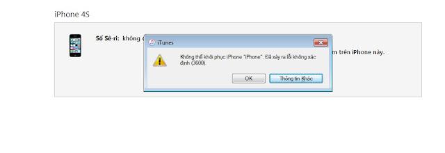 Hướng Dẫn Fix lỗi 3600 khi restore iphone trên máy tính thành công 100%