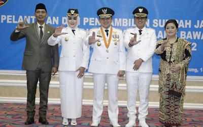 Gubernur Ridho Lantik Bupati dan Wakil Bupati Tulang Bawang