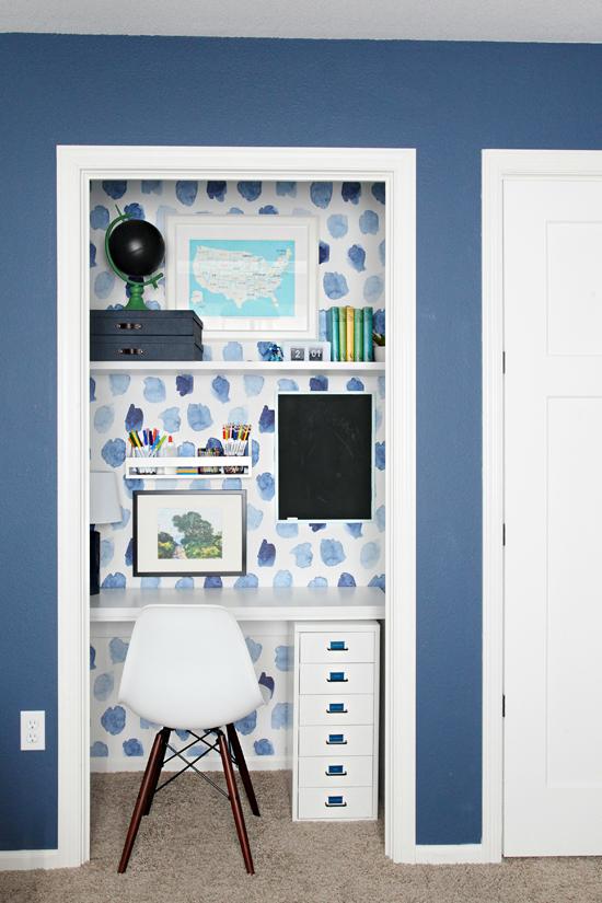 Boys Bedroom Desk iheart organizing: boy's bedroom update: closet doors and supply