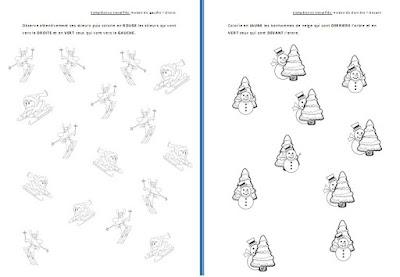 Topologie orientation spatiale droite-gauche devant-derrière sur le thème de l'hiver