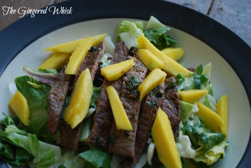 Grilled Asian Flank Steak and Mango Salad is AMAZING! So many great flavors!