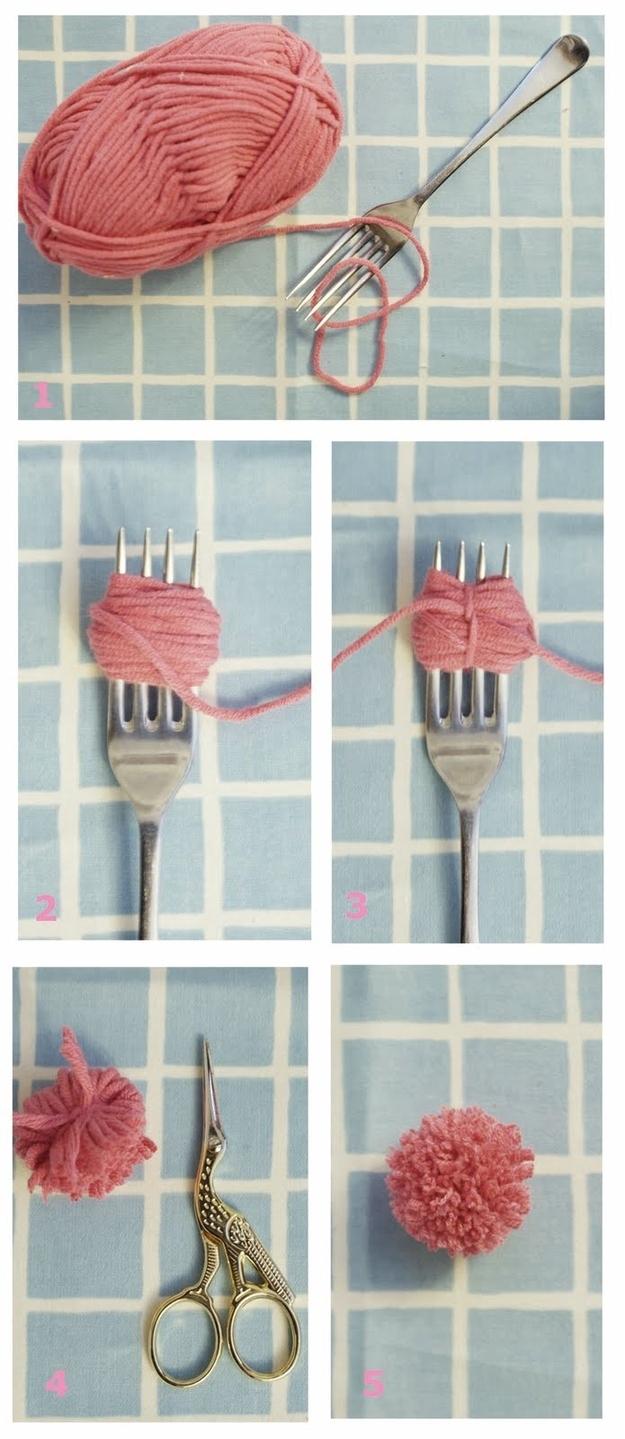 Hacer pompones con tenedor