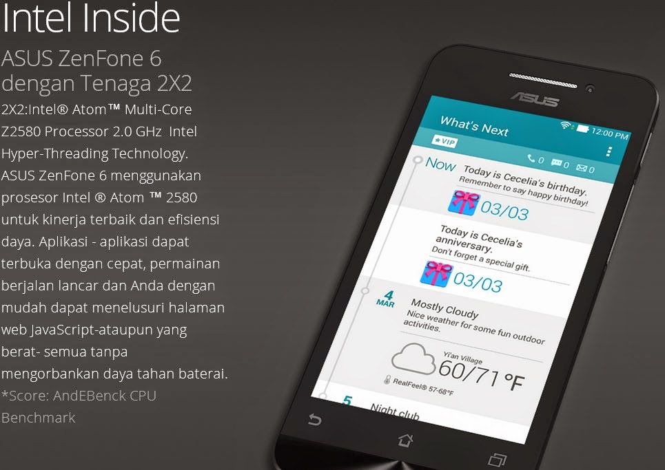 Intel Inside Asus Zenfone