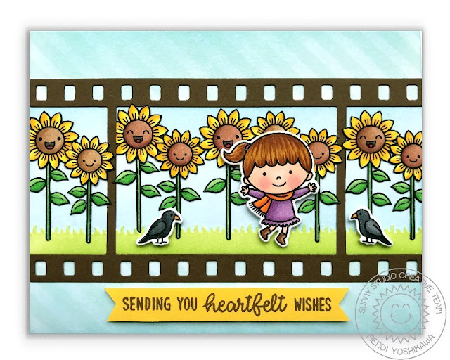Sunny Studio Stamps Sunflower Card featuring Background Basics, Happy Harvest & Fall Kiddos stamps and Fall Flicks Filmstrip dies