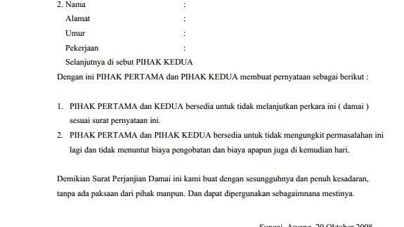 Surat Pernyataan Perjanjian Pembayaran Hutang Surat