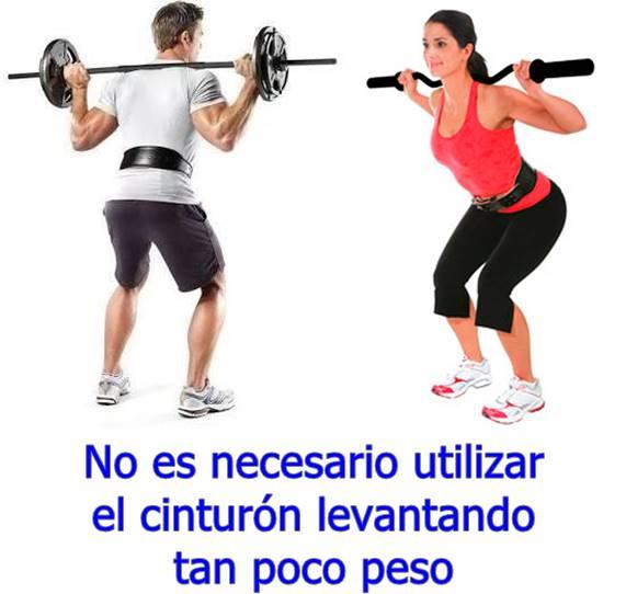 No utilices el cinturón de gimnasio con pesos bajos