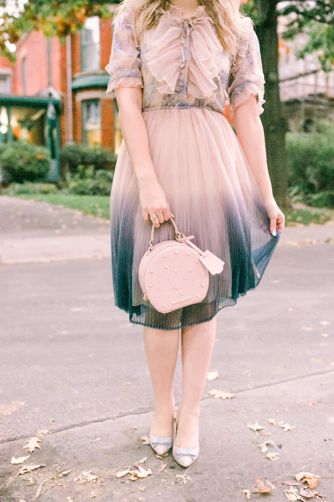 What To Wear To a Fall Engagement Party as a Guest - Chicwish gradient pleated midi tulle dress