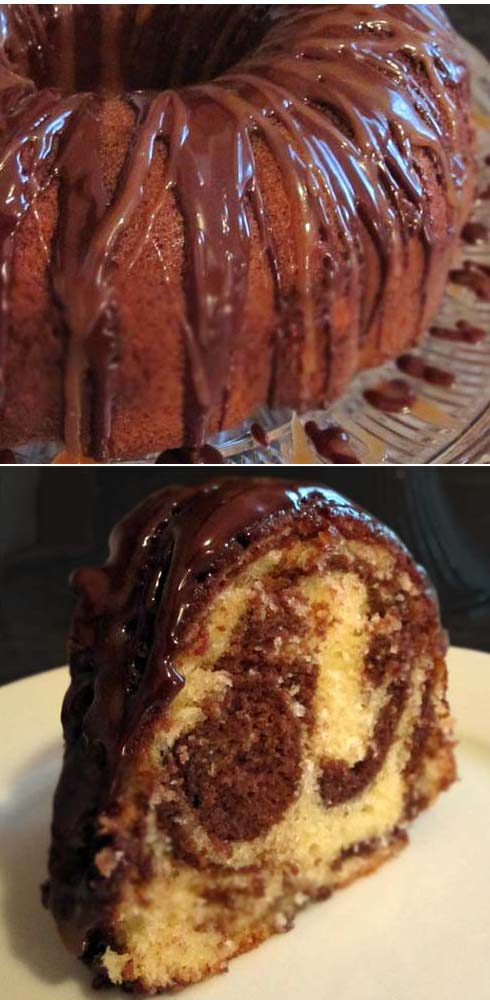 Marble pound cake with sweet cocoa glaze.