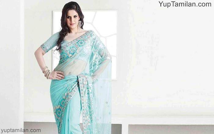 Zareen Khan hot Saree Photos-wearing Silk Saree Pictures,Images