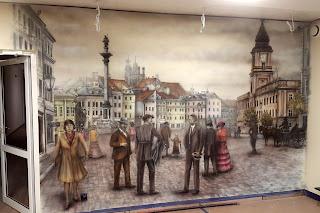 Malowanie dużych obrazów na scianie, mural, Artystyczne malowanie graffiti w salonie, Przedwojenna Warszawa, Mural Plac Zygmunta