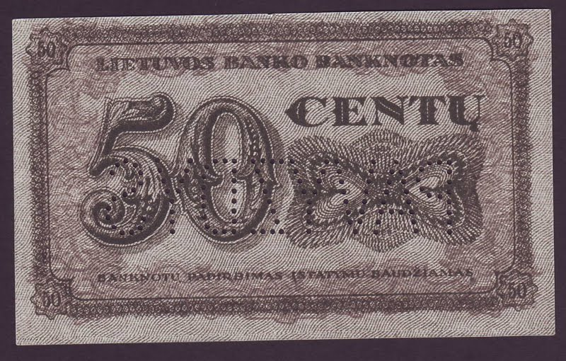Lithuania Paper Money Centas 50 Centu Banknote Of 1922