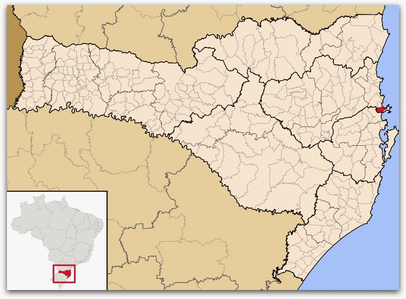 Cidade de Porto Belo, no mapa de Santa Catarina