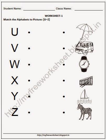 FREE NURSERY-ENGLISH-Matching Alphabets to Picture-[U-Z