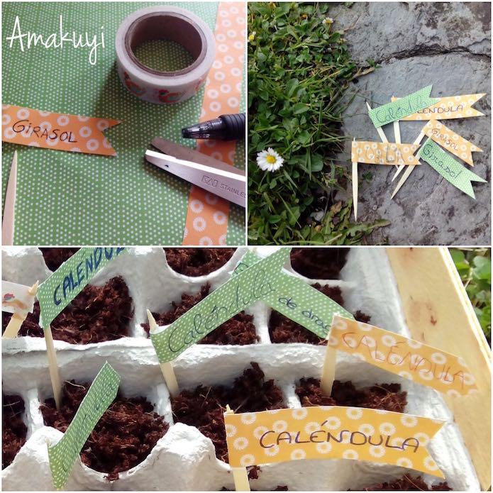 Etiquetas en el semillero de cartón con papel decorado y palillos