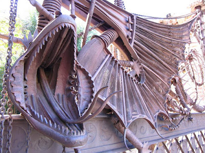 Wrought iron dragon at the gate of Güell Pavilions
