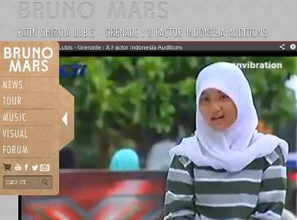 Video Fatin X Factor di Situs Bruno Mars