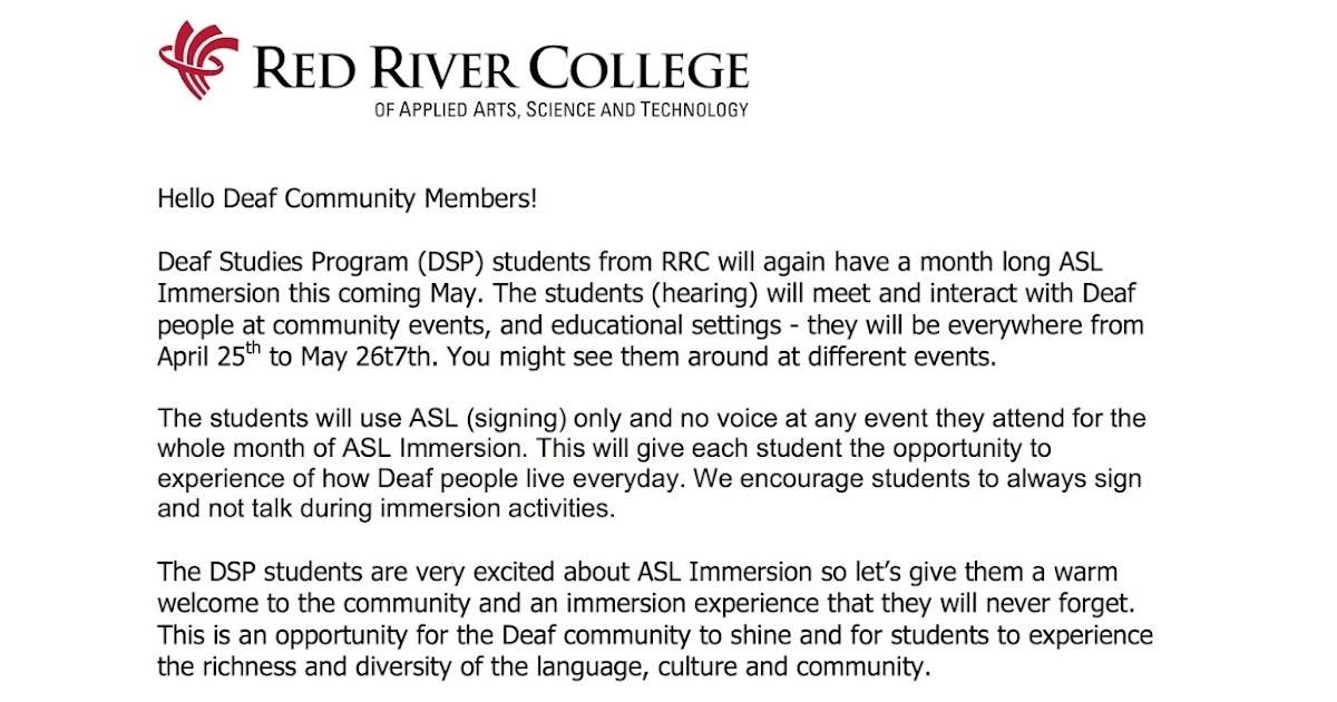 Deaf Centre Manitoba Inc Letter For Deaf Community By Red River College Deaf Studies Program