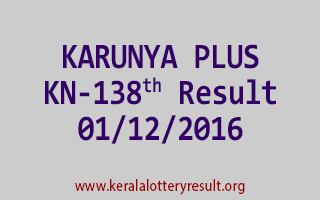 KARUNYA PLUS KN 138 Lottery Results 1-12-2016