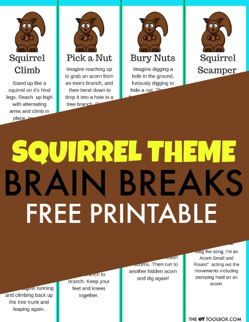 Squirrel brain breaks for a brain break themed activity that promotes movement for kids in the classroom or home this Fall while improving focus and attention through movement.