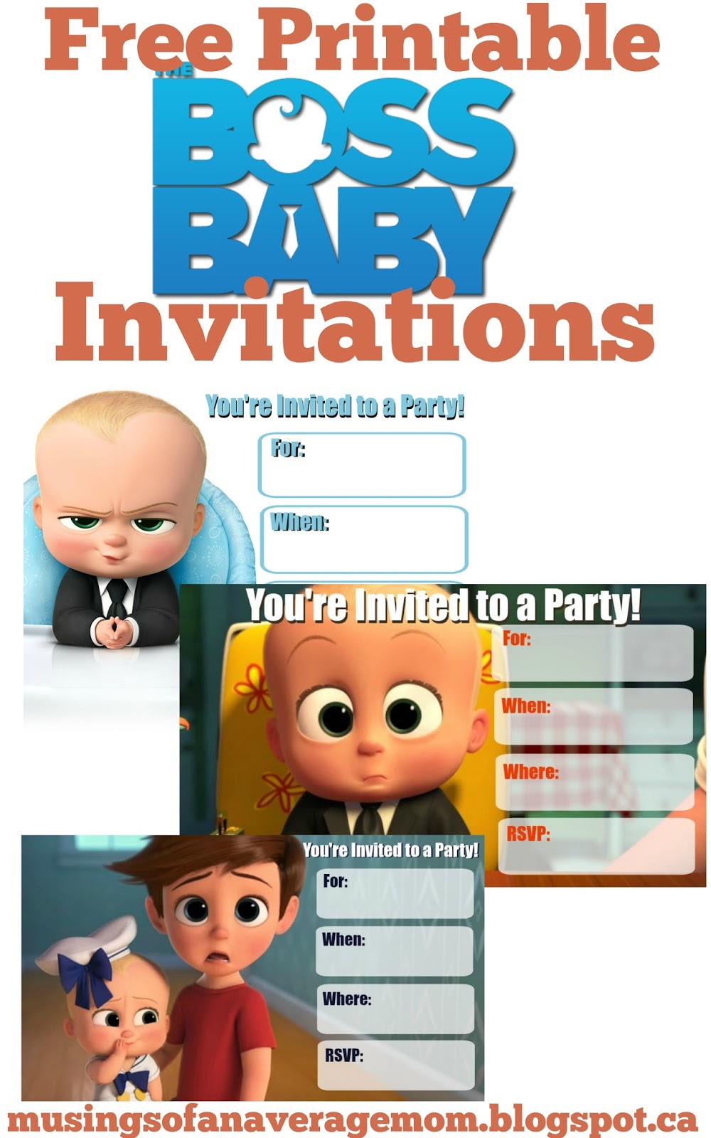 Musings of an average mom boss baby cupcake toppers for Where can i buy party invitations