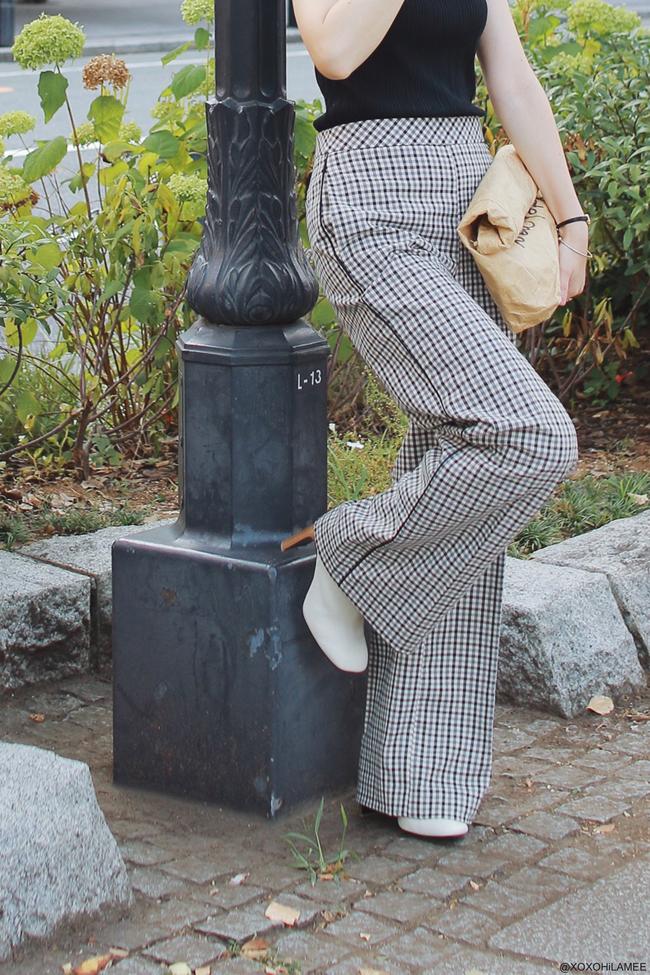 日本人ファッションブロガー,Mizuho K,20170827今日のコーデ,JEANASIS-ノースリーブリブニットトップス,TWINSET-ガンクラブチェックワイドパンツ,rag & bone-ホワイトブーツ,MATATABI-ペーパークラッチバッグ,zeroUV-ラウンドファッション眼鏡,ループイヤリング