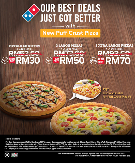 Domino's Pizza Deals Two Regular Large Xtra Discount Promo