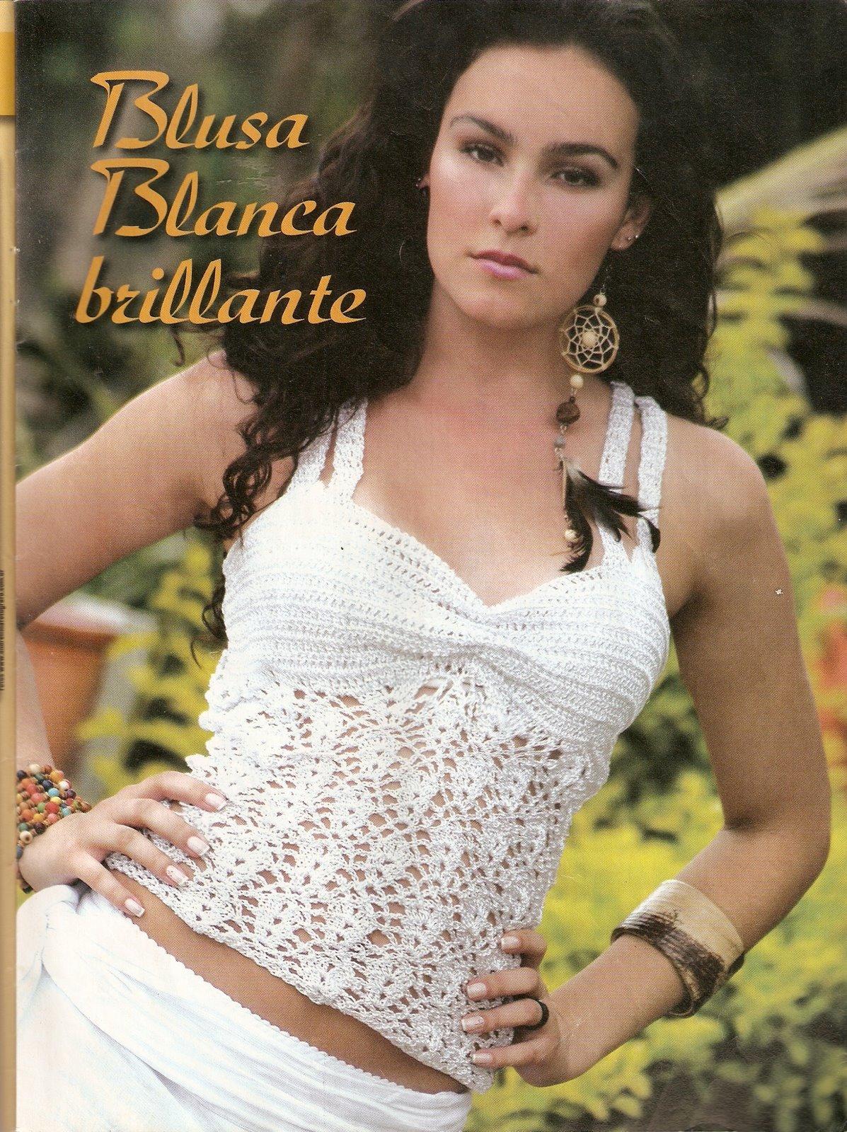 Top Crochet Blanco Brillante