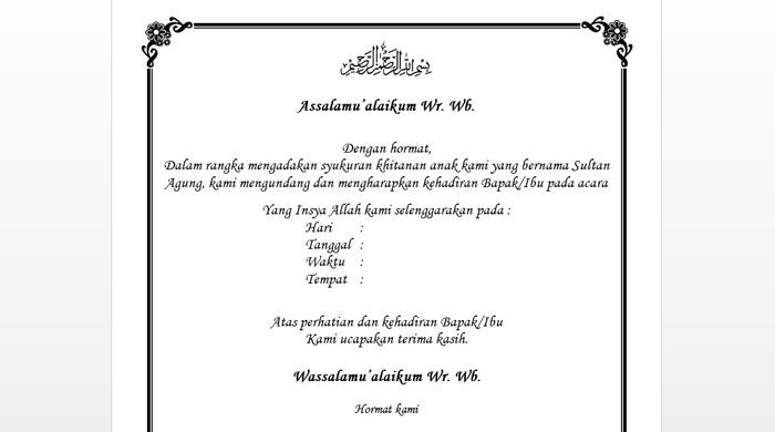contoh undangan sunat