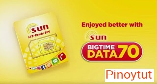 Big Time Data 70 Pesos for 1GB  Plus  Unli text to all valid for 7 Days Sun Cellular