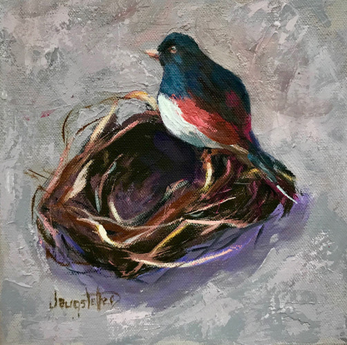 "Bird, Bird Nest, Impressionism Nature Painting, ""TWIGS AND FEATHERS I"" by Georgia Artist Deanna Jaugstetter"