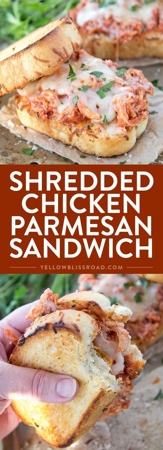 SHREDDED CHICKEN PARMESAN SANDWICH #CHICKEN #PARMESAN #SANDWICH #LUNCH #BREAKFAST #DELICIOUSFOOD
