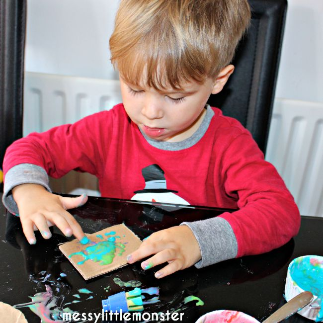 painting with homemade puffy paints
