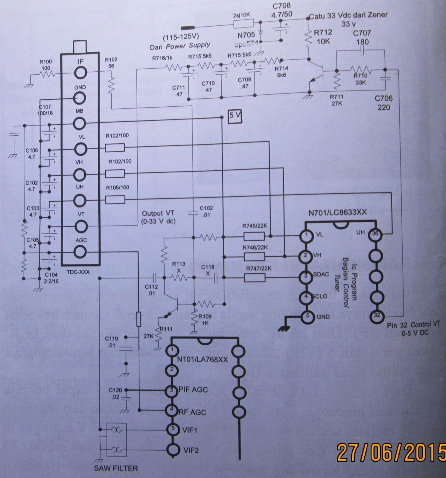 Service Tv Tabung Dan Trobbleshoting Rangkaian Penguat Vertical Electronic Circuit Diagram Using La78041 La78040 Skema Tuner Pendukungnya