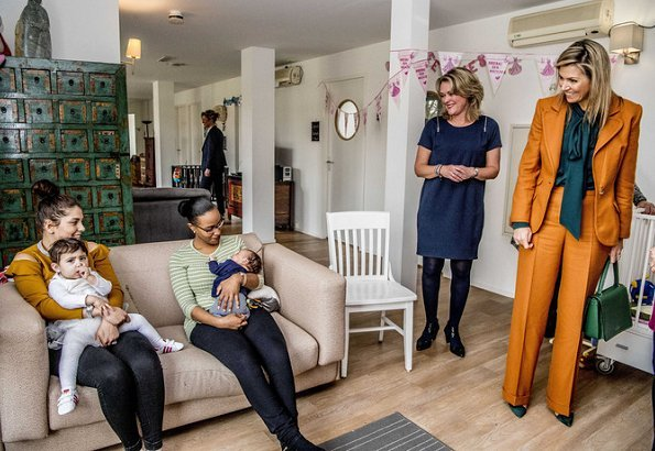 Queen Maxima of the Netherlands made a working visit to Babyhuis (Baby Home) in Dordrecht. Queen Maxima wore a jacket and trousers by Claes Iversen