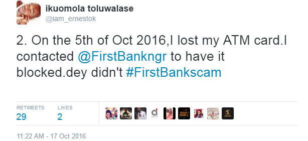 Man left furious after First Bank allowed thieves withdraw 226k from his stolen card