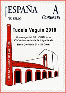 "Tu sello personalizado Homenaje a XXV aniversario de la tragedia de la Mina Confiada 3º o ""El Cestu"", Grucomi, Tudela Veguín 2010"