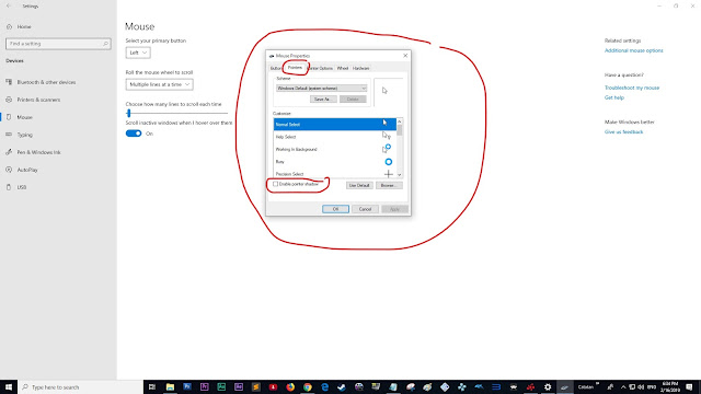 """Pointer"", setelah itu hilangkan checkbox ""Enable Pointer Shadow"""