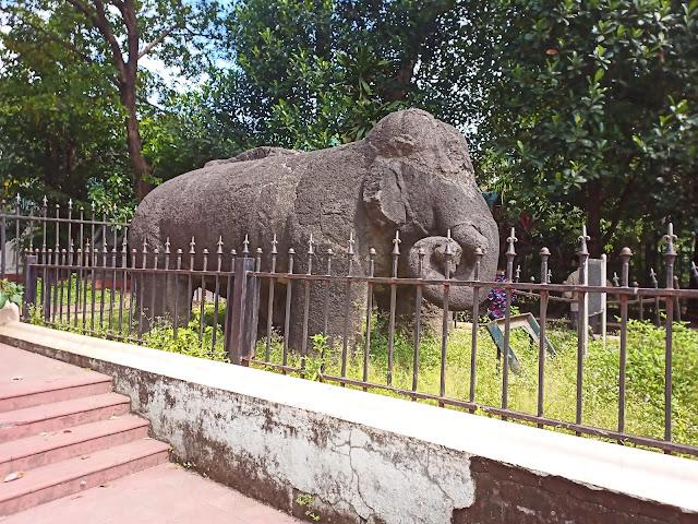 Elephant basalt sculpture from Elephanta Island outside  Dr Bhau Daji Lad Mumbai City Museum