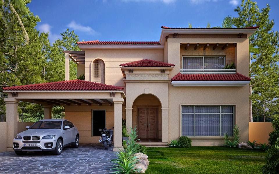 1 Kanal Spanish House Design ~ 3D Front Design.Blog
