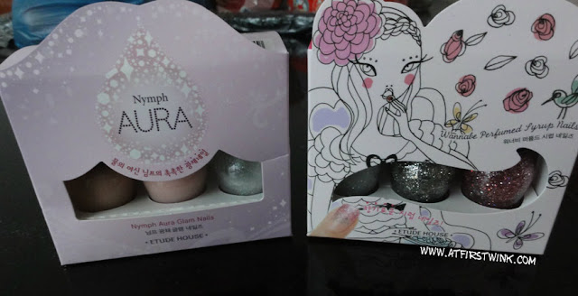 Etude House nymph aura glam nails and Wannabe Perfumed Syrup nails
